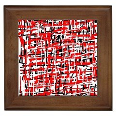 Red, white and black pattern Framed Tiles