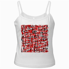 Red, white and black pattern White Spaghetti Tank