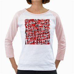 Red, white and black pattern Girly Raglans