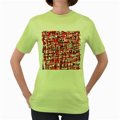 Red, white and black pattern Women s Green T-Shirt