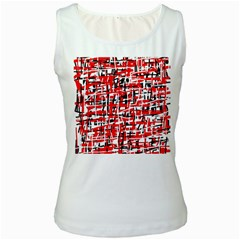 Red, white and black pattern Women s White Tank Top