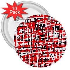 Red, white and black pattern 3  Buttons (10 pack)