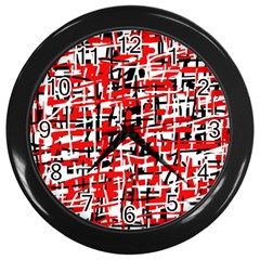Red, white and black pattern Wall Clocks (Black)