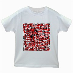 Red, white and black pattern Kids White T-Shirts