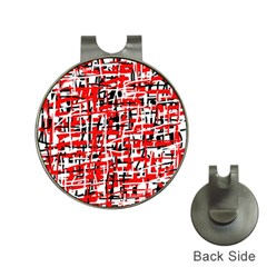 Red, white and black pattern Hat Clips with Golf Markers