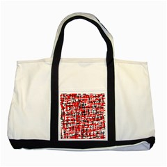 Red, white and black pattern Two Tone Tote Bag
