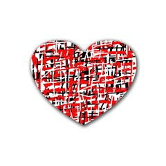 Red, white and black pattern Rubber Coaster (Heart)