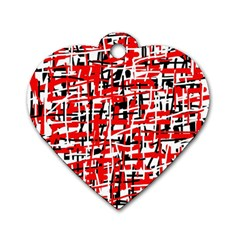 Red, white and black pattern Dog Tag Heart (One Side)