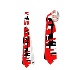 Red, white and black pattern Neckties (One Side)