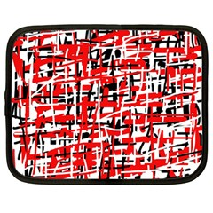 Red, white and black pattern Netbook Case (Large)