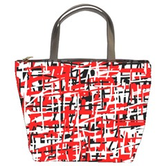 Red, white and black pattern Bucket Bags