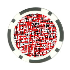 Red, white and black pattern Poker Chip Card Guards (10 pack)