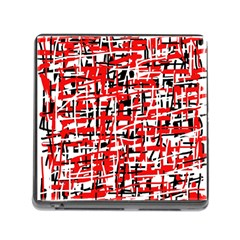Red, white and black pattern Memory Card Reader (Square)