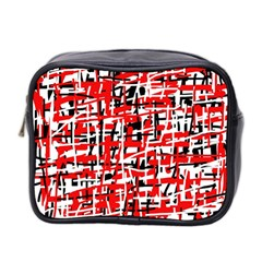 Red, white and black pattern Mini Toiletries Bag 2-Side
