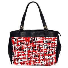 Red, white and black pattern Office Handbags (2 Sides)