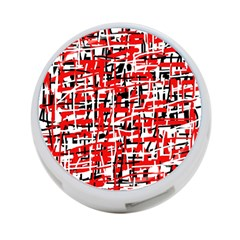 Red, white and black pattern 4-Port USB Hub (One Side)