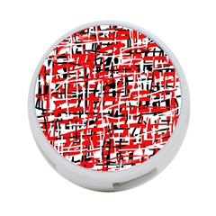 Red, white and black pattern 4-Port USB Hub (Two Sides)
