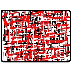Red, white and black pattern Fleece Blanket (Large)