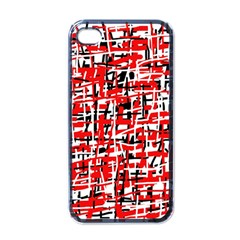 Red, white and black pattern Apple iPhone 4 Case (Black)