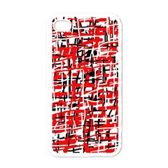 Red, white and black pattern Apple iPhone 4 Case (White)