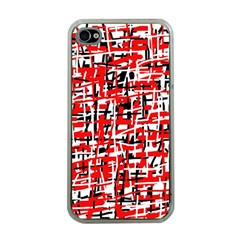 Red, white and black pattern Apple iPhone 4 Case (Clear)