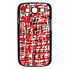 Red, white and black pattern Samsung Galaxy S III Case (Black)