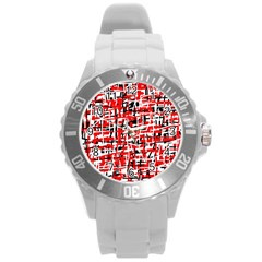 Red, white and black pattern Round Plastic Sport Watch (L)