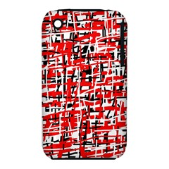 Red, white and black pattern Apple iPhone 3G/3GS Hardshell Case (PC+Silicone)