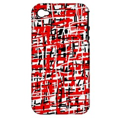 Red, white and black pattern Apple iPhone 4/4S Hardshell Case (PC+Silicone)