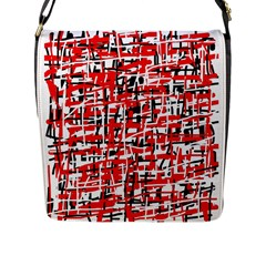 Red, white and black pattern Flap Messenger Bag (L)