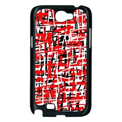 Red, white and black pattern Samsung Galaxy Note 2 Case (Black)