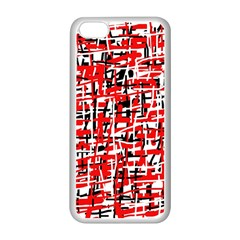 Red, white and black pattern Apple iPhone 5C Seamless Case (White)