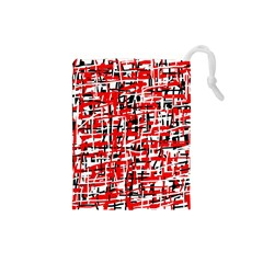 Red, white and black pattern Drawstring Pouches (Small)