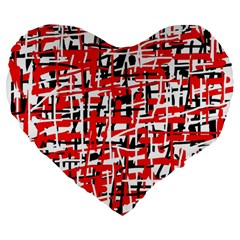 Red, white and black pattern Large 19  Premium Flano Heart Shape Cushions