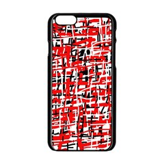 Red, white and black pattern Apple iPhone 6/6S Black Enamel Case