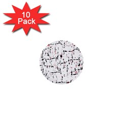 red, white and black pattern 1  Mini Buttons (10 pack)