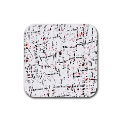 red, white and black pattern Rubber Square Coaster (4 pack)