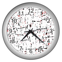 red, white and black pattern Wall Clocks (Silver)