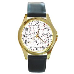 red, white and black pattern Round Gold Metal Watch