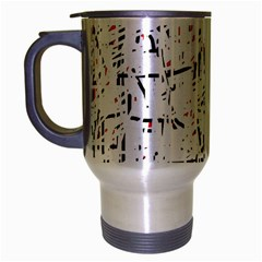 red, white and black pattern Travel Mug (Silver Gray)