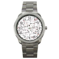 red, white and black pattern Sport Metal Watch