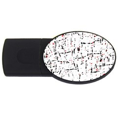 red, white and black pattern USB Flash Drive Oval (4 GB)