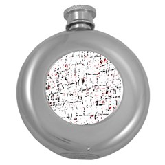 red, white and black pattern Round Hip Flask (5 oz)