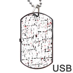 red, white and black pattern Dog Tag USB Flash (Two Sides)