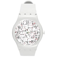 red, white and black pattern Round Plastic Sport Watch (M)