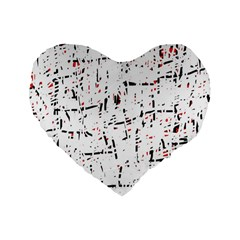 red, white and black pattern Standard 16  Premium Heart Shape Cushions