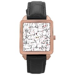 red, white and black pattern Rose Gold Leather Watch