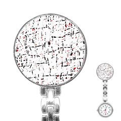 red, white and black pattern Stainless Steel Nurses Watch