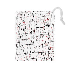 red, white and black pattern Drawstring Pouches (Large)