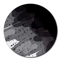 Black and gray pattern Round Mousepads